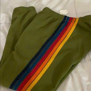 New! Aviator nation 5 stripe green sweatpants